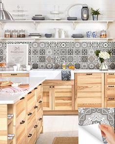Grey Set of 24 tile stickers Back splash Talavera style stickers mixed for walls Kitchen bathroom Stair decals New Kitchen, Kitchen Decor, Minimal Kitchen, Awesome Kitchen, Kitchen Models, Best Kitchen Designs, Vinyl Tiles, Bathroom Furniture, Kitchen Backsplash
