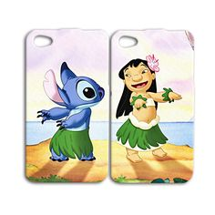 Lilo and Stitch Disney Best Friends Cute Pair Cover Case for iPhone 4 4s 5 5s 5c 6 Plus +