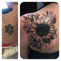 A cover-up for Christina, thanks so much! It wraps over the shoulder, sorry about the glare. @scorpiontatu #tattoo #coverup #coveruptattoo #blacktattoo #blackandgreytattoo #blackwork #sunflower #sunflowertattoo #botanicaltattoo #flowertattoo #customtattoo #rebekatattoos