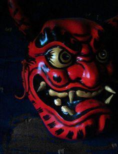Red Oni Kagura Mask