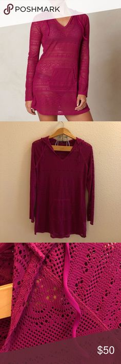 PrAna Luisa Crochet Tunic Cover Up Size small pink tunic cover up by prAna in the style 'Luiza.' Drawstring hood with pocket in the front. No flaws or signs of wear! I ship daily - excluding Sundays and holidays - and I store items in a smoke free, pet free environment. Open to offers; bundles discounted! No trades. Prana Swim Coverups