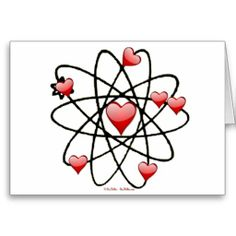 Atomic Valentine Red Hearts Card by Lee Hiller #Photography and #Design