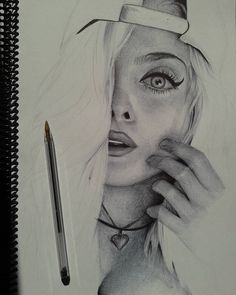Em andamento com caneta Bic Girl Drawing Sketches, Face Sketch, Portrait Sketches, Cool Art Drawings, Pencil Art Drawings, Colorful Drawings, Portrait Art, Realistic Face Drawing, Ballpoint Pen Art