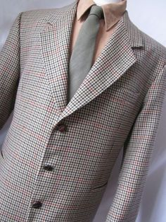 Jacket 44 R Paragon Houndstooth Tweed Wool 3 Button Blazer Coat Mens Tan Blazer Coat Mens, Suit Jacket, Leather Jacket, Ebay Auction, Blazer Buttons, Username, Houndstooth, Tweed, Raincoat