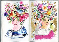 Jennifer Orkin Lewis (August Wren) -- a Sketchbook Conversation Watercolor Sketch, Floral Watercolor, Watercolor Ideas, Watercolor Painting, Sketchbook Inspiration, Art Sketchbook, Fashion Sketchbook, Flower Doodles, Doodle Flowers