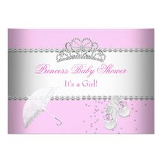 Princess Baby Shower Girl White Pink Tiara 2 Personalized Invite