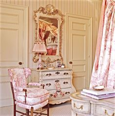 Pink and white toile bedroom with white painted furniture. So pretty!