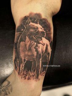 Angry Pitbull Tattoo Designs angry 3d pitbull tattoo on half sleeve ...