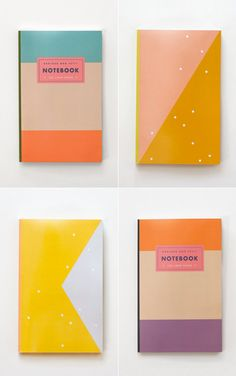 color blocked notebooks and planners by Julia Kostreva.    Pick notebooks with awesome designs. It makes picking out supplies way more fun. It also makes it easy to remember which notebook is for which class with such different looking covers!