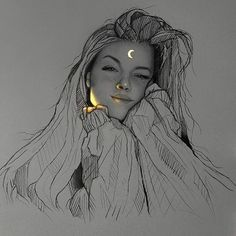 Mexican artist Enrique Bernal creates beautiful pencil drawings that look like they've been illuminated with bright fluorescent lights. Beautiful Pencil Drawings, Pencil Art Drawings, Cool Art Drawings, Realistic Drawings, Art And Illustration, Illustration Pictures, Portrait Au Crayon, Art Du Croquis, Girl Drawing Sketches