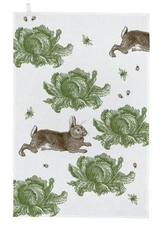 Thornback and Peel rabbit & cabbage cotton teatowel. #rabbits