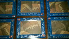 Homecoming gifts for peewee football boys! Spray paint frames cut scrapbook paper for background and wrote with silver sharpie and stickers.