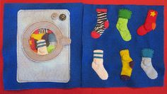 Imagine Our Life :: Sock Matching Quiet Book Page. I love this idea for a quiet book page. Diy Quiet Books, Baby Quiet Book, Felt Quiet Books, Quiet Book Templates, Quiet Book Patterns, Book Activities, Toddler Activities, Book Projects, Sewing Projects