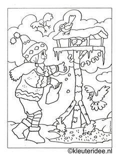 kleurplaat meisje met vogelhuisje, kleuteridee.nl:
