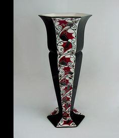 """Karl Klaus """"Serapis-Wahliss"""" vase c.1911 Fayence with hand painted enamels and silver gilding"""