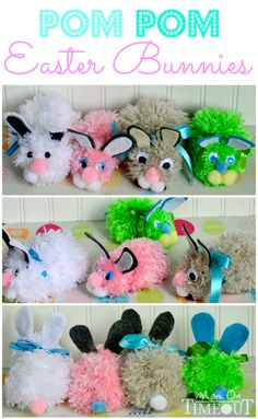Pom Pom Easter Bunnies Craft Tutorial by Mom On Timeout - Make your own Easter Bunny with these step-by-step instructions!