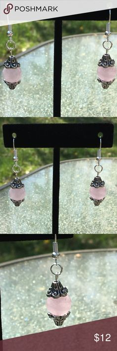 Pink Natural Rose Quartz Silver Drop Earrings These cute earrings are made with natural rose quartz. The hooks are sterling silver plated.   All PeaceFrog jewelry items are handmade by me! Take a look through my boutique for more unique creations. PeaceFrog Jewelry Earrings