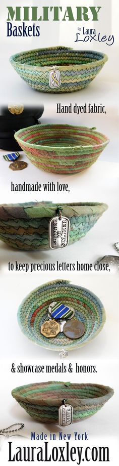Keep letters home close, with one of Laura Loxley's hand dyed fabric coiled baskets! A small basket made with love by the studio of LauraLoxley.com. Order your very own basket today at LauraLoxley.com!