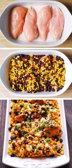 Mexican Street Corn Black Bean Chicken Bake with Chili Powder and Cotija Cheese . Mexican Street C Queso Cotija, Cotija Cheese, Mexican Food Recipes, Dinner Recipes, Vegetarian Mexican, Shrimp Recipes, Healthy Mexican Food, Corn Recipes, Dinner Ideas