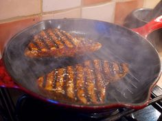 Blackened tuna steak with dirty Cajun rice Dinner tonight was partly down to me fancying some Cajun flavours and partly because I wanted to use my new cast-iron grillet pan. Recipe based on Antony...