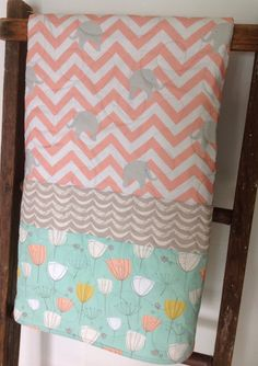 Baby Quilt Chevron Gray Coral Mint Elephant Baby by CoolSpool
