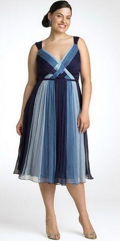 Blue chiffon plus size dress