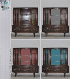 MÓVEL CRISTALEIRA em madeira maciça, (mesa, cadeiras e aparador, para quem tb estiver interessado)... Pintar o interior é uma das formas de modificar o aspecto dum móvel ... https://www.facebook.com/objecta.segunda.mao/photos/a.502677349868970.1073741830.501864669950238/692991600837543/?type=3&theater