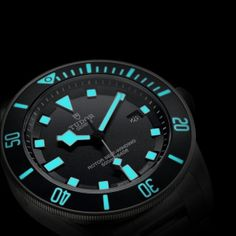 "the new Tudor Pelagos dive watch...nice lume shot showing off those ""snowflake"" hands"