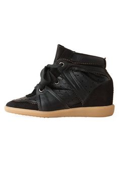 Isabel Marant Wedge Sneakers High Top Suede Leather All Black  $172.00