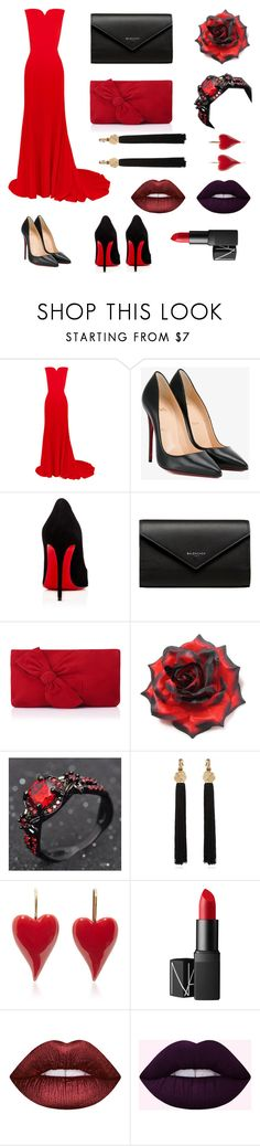 """""""Black and red"""" by l-yurina ❤ liked on Polyvore featuring Oscar de la Renta, Christian Louboutin, Balenciaga, L.K.Bennett, Yves Saint Laurent, NARS Cosmetics and Lime Crime"""