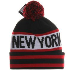 New York NY Pro Teams Winter Cuff Pom Pom Knit Hat Cap (Adult One Size, Black Red) - http://weheartnyknicks.com/ny-knicks-fan-shop/new-york-ny-pro-teams-winter-cuff-pom-pom-knit-hat-cap-adult-one-size-black-red