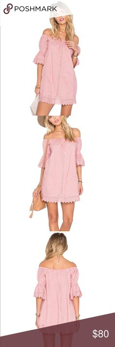 TULAROSA x REVOLVE Isabella Dress in Blush Off shoulder blush dress with lace details!  Elastic neckline, fully lined, 100% cotton.  Shoulder seam to hem measures approximately 30 inches in length.  Worn twice! Tularosa Dresses Mini