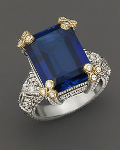 Judith Ripka Estate Emerald Cut Stone Ring