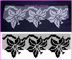 ~ Easiest Crochet Frills Border Ever! Crochet Curtain Pattern, Crochet Mandala Pattern, Crochet Lace Edging, Crochet Curtains, Crochet Tablecloth, Crochet Diagram, Crochet Chart, Crochet Doilies, Crochet Flowers