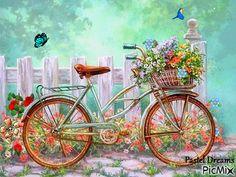 belles images - Page 2 Decoupage Vintage, Decoupage Paper, Vintage Paper, Vintage Bicycle Art, Bicycle Painting, Illustration, Diamond Art, Bike Art, Diy Flowers