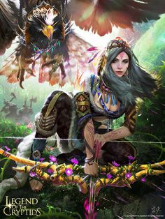 f Druid Med Armor Longbow Crow Companion Wilderness Orc Patrol Deciduous forest story Legend of the Cryptids lg Fantasy Warrior, Fantasy Rpg, Medieval Fantasy, Fantasy Artwork, Fantasy Images, Fantasy Women, Fantasy Girl, Character Portraits, Character Art