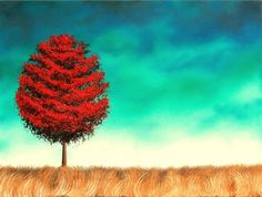 Dark Art Red Tree Painting, Large Wall Art Print, Giclee Print of Landscape Painting, Green Sky Stormscape, Canvas Art, 16x20, 18x24, 24x30 by BingArt on Etsy