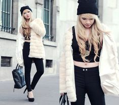 Skinny Black Pants, Faux Fur Coat, 3.1 Phillip Lim Pashli Satchel, Jeffrey Campbell Madame Spike Heels