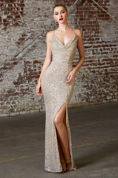 Fitted Sequin Gown with Cowl Neckline by Cinderella Divine Metallic Prom Dresses, Gold Sequin Gown, Stunning Prom Dresses, Fitted Prom Dresses, Gala Dresses, Pretty Dresses, Formal Dresses, Fitted Skirt, Prom Dress Long