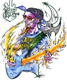 Peppe Calandrino, chitarrista dei Tintinnabula. China e colori a spirito su A4