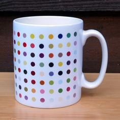 Multi-Coloured Spot Art Mug - Inspired by Damien Hirst Spot Paintings Damien Hirst, Novelty Mugs, Piet Mondrian, Blue Painting, Present Gift, Modern Art, Unique Jewelry, Handmade Gifts, Paintings