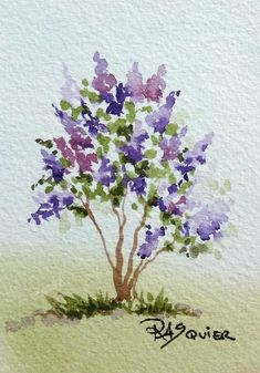 The Scent of French Lilacs Watercolor ACEO