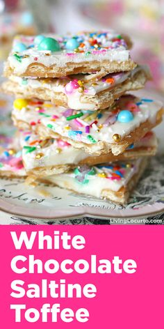 Unicorn Crack is a simple and addicting white chocolate saltine toffee recipe! Topped with pastel rainbow sprinkles.