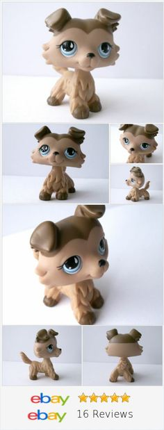 Littlest Pet Shop 853 Mocha & Brown Tan Collie Dog /w Blue Eyes LPS RARE