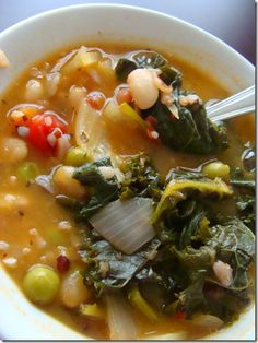 White Bean, Kale and Roasted Vegetable Soup: User Recommendation: Top this tasty soup with parmesan cheese and grilled polenta. Roasted Vegetable Soup, Vegetable Soup Recipes, Vegetarian Recipes, Healthy Recipes, Veggie Soup, Clean Eating Recipes, Healthy Eating, White Bean Kale Soup, Wine Recipes