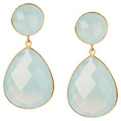 18-karat gold-plated brass teardrop earrings with faceted gemstones in aqua chalcedony.   Product: Pair of earrings...