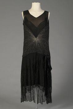 Evening dress of beaded silk chiffon and lace, American, late 1920s, KSUM 1983.1.361.