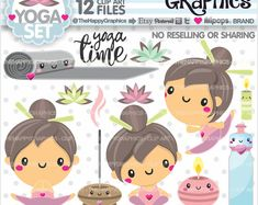 Yoga Clipart, Yoga Graphics, COMMERCIAL USE, Yoga Girl Clipart, Planner Accessories, Meditation Clipart, Yoga Class, Cute