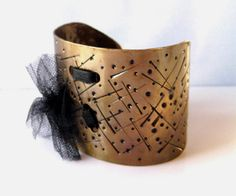 Cuff Gold  Metal Bracelet Mixed Media Mesh Leather by simplyfaina, $44.00