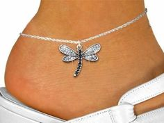 Silver Tone And Crystal Dragonfly Charm And Anklet by Lonestar Jewelry -- Awesome products selected by Anna Churchill